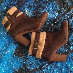 Timberland Ortholite Brown Fur Block Heel Boots